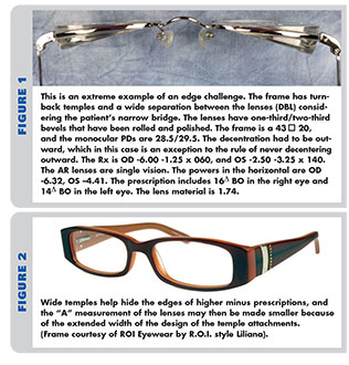 1a724f6a344f Frame selection plays a big role in reducing lens thickness. Both turn-back  temples and adjustable nosepads can help (Fig. 1). With adjustable pads,  you may ...