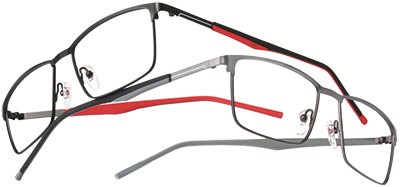 ec0197c0e1 A rectangular titanium frame with a straight brow and flat front